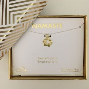 Sterling Silver Lotus Two Tone Necklace